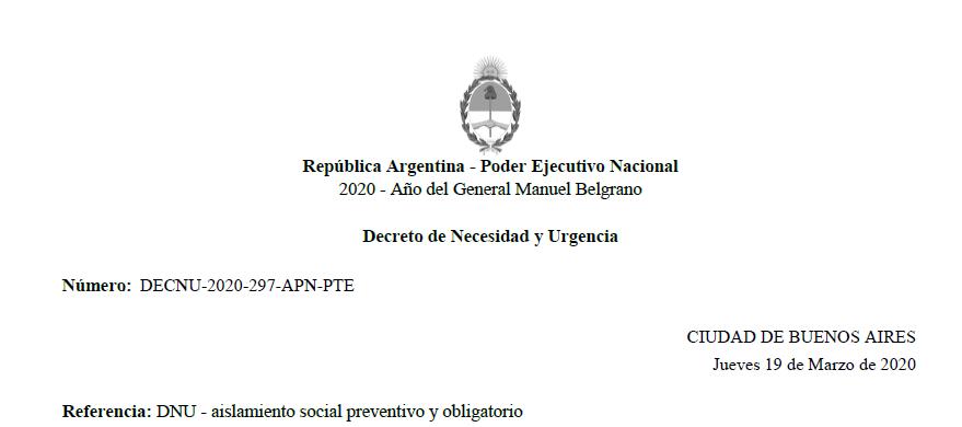 DNU – aislamiento social preventivo y obligatorio