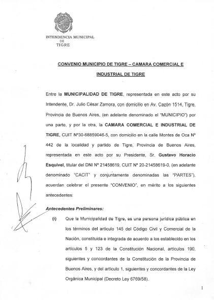 FIRMA DEL CONVENIO CON EL MUNICIPIO PARA IMPLEMENTAR EL «PASE SANITARIO»